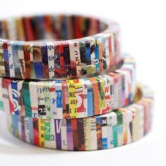 Recycled Magazine Eco Friendly Bangle Bracelet by SquishySushi