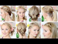 10 Frisuren in 8 Minuten - Schnell & Einfach - Mittellanges Haar - YouTube