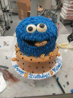 cookie monster cake Cookie Monster Cakes, Monster Birthday Cakes, Monster First Birthday, Monster 1st Birthdays, Baby Boy 1st Birthday Party, Monster Birthday Parties, Birthday Ideas, Birthday Cake Cookies, Cool Birthday Cakes