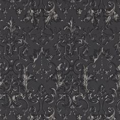 Marmorino Wallpaper A magnificent wallpaper with large scale damask design shown in shades of ebony and inspired by the beautiful plaster mouldings that adorn the walls of Rococo buildings. A platform of relief ink is put down onto a new fibrous base paper, and then overprinted with tonal colours.