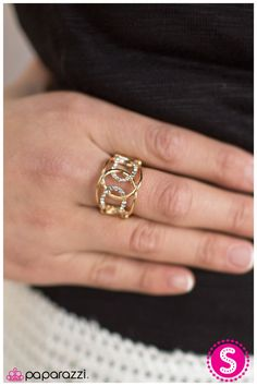 Get Down Tonight - Gold This stretchy ring is only $5 with Paparazzi Accessories! Click to shop lots of fun $5 jewelry with me!