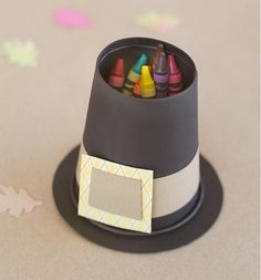 Stash crayons (or pencils and pens) in this mini pilgrim hat, made from a black paper cup.  Get the tutorial at Fiskars »   - GoodHousekeeping.com
