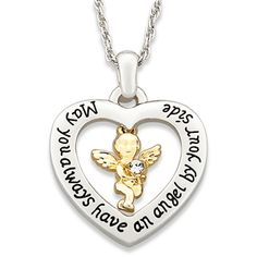 "Guardian Angel Heart Necklace - May you always have an angel by your side. This simple sentiment lets that special someone know how much you care. A gleaming Goldtone angel with Austrian crystal accent flutters at the center of the Silvertone heart. Pendant is suspended from a 20"" rope chain with 3"" extender."