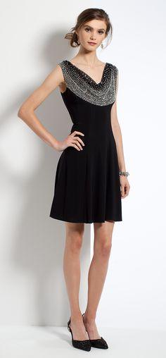 Beaded Cowl Dress #camillelavie