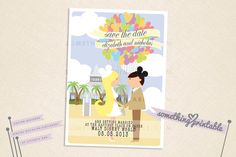 Happy Couple - Printable Disney Inspired Cartoon Couple Save the Date Design featuring Disney's Wedding Pavilion. $15.00, via Etsy.
