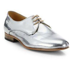 Dieppa Restrepo Cali Metallic Leather Lace-Up Oxfords ($200) ❤ liked on Polyvore featuring shoes, oxfords, apparel & accessories, silver, polish leather shoes, genuine leather shoes, shiny leather shoes, leather oxfords and metallic oxford shoes