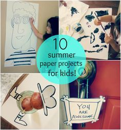 !0 Summer Paper Projects for Kids.  Of course, these are great for anytime, so bring on the snowstorm, or the too-sick-for-school-but-too-well-to-lie-around...you'll be ready!  #kids #art