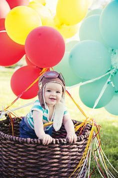 Such a cute DIY hot air balloon basket (and pilot!)