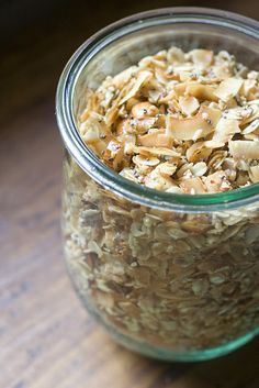 Coconut Granola - 3.5 cups coconut flakes (*unsweetened)  1/2 cup oats (*substitute more coconut for the oats if you're gluten-free)  1/2 cup almonds, chopped  2 Tablespoons chia seeds  1 teaspoon ground cinnamon  1/3 cup coconut oil  dash of salt