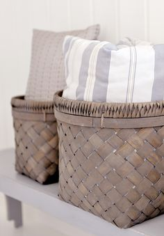 natural + texture: love using woven baskets in guest bathrooms/bedroom to house extra linens/towels/toilet paper
