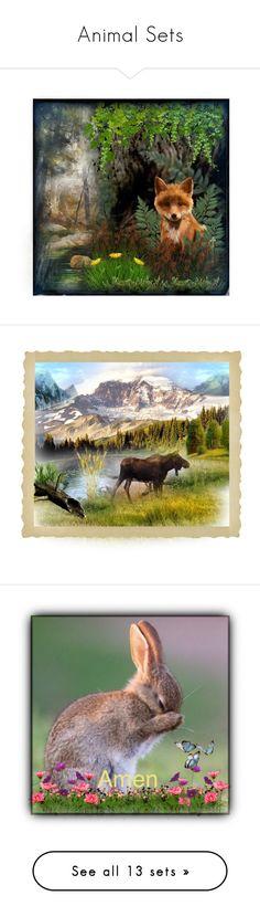 """Animal Sets"" by sweetdreamer24 ❤ liked on Polyvore featuring art, fox, dreamer, moose, alaska, artset, owl, Fall, disney and DORY"