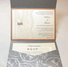 Lace Wedding Invitations by Lavender Paperie