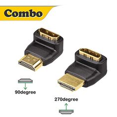 Vce (2-pack) Hdmi 90 Degree And 270 Degree Male To Female Adapter