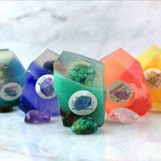A Real Gemstone In Each Vegan Crystal Soap Gift Set Birthday Gift Set of 3 Amethyst Turquoise Rose Quartz - Soap Diy Crystals, Crystals And Gemstones, Black Crystals, Rose Geranium Essential Oil, Soap Base, Soap Packaging, Handmade Soaps, Soap Making, Birthday Gifts