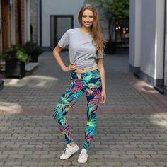 Stylish, durable, and a hot fashion staple. These polyester/spandex leggings are made of a comfortable microfiber yarn, and they'll never lose their stretch. Crazy Leggings, Best Leggings, Sports Leggings, Women's Leggings, Floral Leggings, Printed Leggings, Colorful Leggings, See Through Leggings, Lounge Outfit
