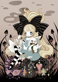 Dark Alice: smoking, gothic, and surrounded by black plants.