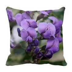 Garden Pillow, Delicate Purple Wisteria on Green
