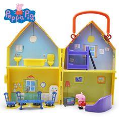 Peppa Pig Juguetes Muñeca Modelo Verdadero de La Escena House PVC Acción figuras de Juguetes de Aprendizaje Temprano los juguetes Educativos de Regalo Familiar Para niños