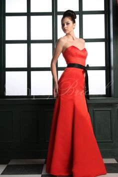 #85016 - Floor-length Satin Dress with Sash