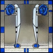 Mackintosh stained glass - blue and white, art nouveau with art deco influence Stained Glass Designs, Stained Glass Patterns, Stained Glass Art, Stained Glass Windows, Mosaic Glass, Charles Rennie Mackintosh Designs, Charles Mackintosh, L'art Du Vitrail, Glasgow School Of Art