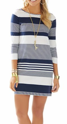 Loving this striped boatneck dress