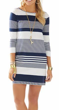 Loving this striped boatneck dress