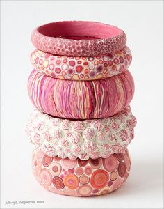 Love the colour and extruded texture on third bangle from the top. Overall colour scheme of these bangles is lovely.