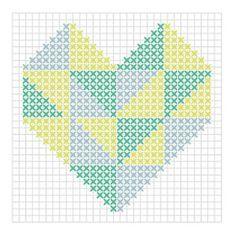 Le coeur graphiqueToutes les techniques sont bonnes pour reproduire ces motifs au point de croix géant. Avec des feutres pour porcelaine, du Masking Tape, du fil mouliné, une guirlande électrique, de la cire en stylo… innovez pour une déco 100% personnalisée !