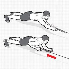 PLANK CABLE ROW HOW TO DO IT: Attach a handle to the low pulley of a cable station and face it in a plank position resting your weight on your forearms. Grab the handle in your right hand with your arm outstretched. This is the starting position. At Home Core Workout, Best Core Workouts, Ab Workout Men, Gym Workouts, At Home Workouts, Core Exercises, Men Exercise, Workout Routines, Workout Plans