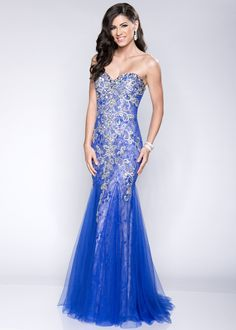 Envious Couture by Karishma Creations 15075 Royal Blue Beaded Lace Mermaid Prom Dress