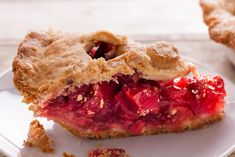A strawberry and rhubarb pie recipe with a tender crust and a tart-sweet filling.