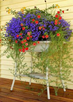 Gorgeous wicker stand full of  lobelia, asparagus fern and impatience