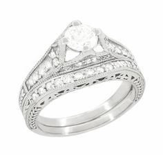Art Deco Filigree Diamond Wheat Engraved Engagement Ring in Platinum - Click to enlarge