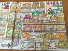 Coloring items on shelves. Depth, color choices, shading, blending.  #romanticcountry #colouringbook