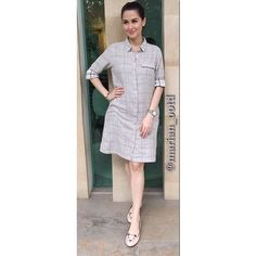 for Taste Buddies taping, wearing polo shirtdress, flats, bracelet, and watch Marian Rivera, Classic Chic, Charlotte Olympia, Maternity Dresses, Celebrity Photos, Casual Wear, Street Wear, Ootds, Style Inspiration