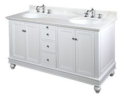 Bella 60-inch Double Bathroom Vanity (White/White): Includes a White Cabinet with Soft Close Drawers, White Marble Countertop, and Two Ceramic Sinks