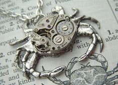Steampunk Necklace Silver Crab Necklace Vintage by CosmicFirefly, $45.00
