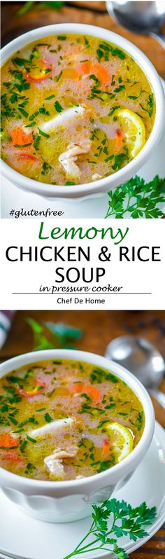 Lemon Chicken Rice Soup - Lite and Healthy Soup to help keep your health in check in changing weather season.