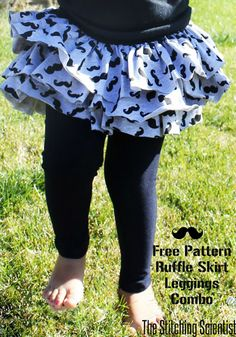 Ruffle Skirt and Leggings Combo with Free Pattern.  Fun to make with some of the 1/4 yard pieces I got!