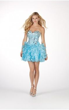 Blue A-line Mini-length Sweetheart Low-back Sexy Dress With Sequins Zipper Sexydresses0065