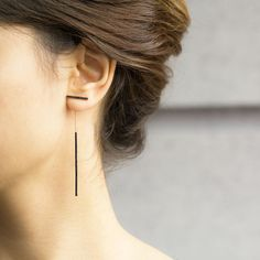 Silver Long Earring Pave Bar Earring Black Zircon Dangle by ETHEIA