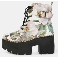 SheIn(sheinside) Floral Beaded Platform Booties FLORAL ($16) ❤ liked on Polyvore featuring shoes, boots, ankle booties, round toe boots, platform booties, platform boots, high heel boots and round cap