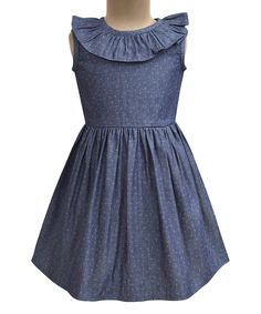 Supersoft denim fabric makes for all-day comfort for your little one in this charming dress with ruffled neckline. Woven100% cottonMachine wash; tumble dryImportedShipping note: This item is shipping internationally. Allow extra time for its journey to you.