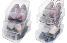 Protect your shoes during a move or in your closet. These durable plastic boxes allow you to protect your shoes from scratches and dust while still allowing you to see which pair is inside. | Moving Tricks and Supplies