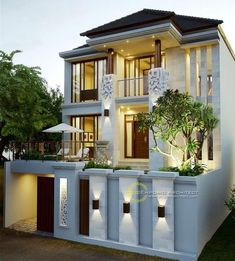 Best Modern Home Architectural Styles and Designs. Find out what style of home you like best.Most people like several home architectural styles. Bungalow House Design, House Front Design, Modern Exterior House Designs, Modern House Design, Bali House, Classic House Design, Architectural Styles, Villa Design, Facade House