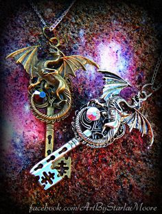 Give the Key to your heart- The perfect Skeleton Key Necklace set for a Dragon loving couple. Customize these stunning key necklaces with your favorite color crystals- Exclusively at Art by Starla Moore.