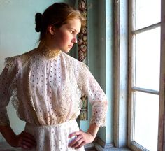 Edwardian Pink Eyelet with Ecru Lace Skirt Blouse by marybethhale