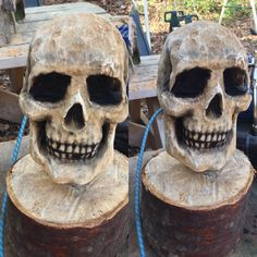 Skull chainsaw carving by Josh Carte Art. Chainsaw, sandpaper and airbrush only..                                                                                                                                                                                 More