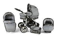 Complete 3 in 1 combi kinderwagen Silver - Grijs/Bloemen
