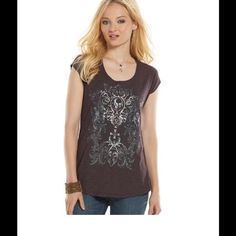 HPRock & Republic Skull Foiled Graphic Tee ROCK AN EDGY LOOK WITH THIS WOMEN'S ROCK & REPUBLIC SKULL, ANGELS AND SCROLL GRAPHIC TEE. IN GRAY.  PRODUCT FEATURES Foiled and nailhead accents add sparkle Slubbed details Scoopneck Cap sleeves FABRIC & CARE Cotton, modal Hand wash 60% cotton, 40% modal. Rock & Republic Tops Tees - Short Sleeve